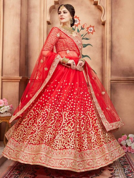 Coral Red Net Party Embroidered Lehenga Choli
