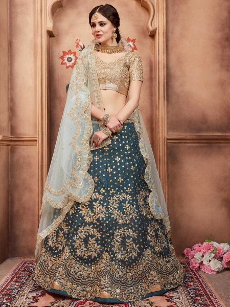 Gray Asparagus Green Art Silk Party Embroidered Lehenga Choli
