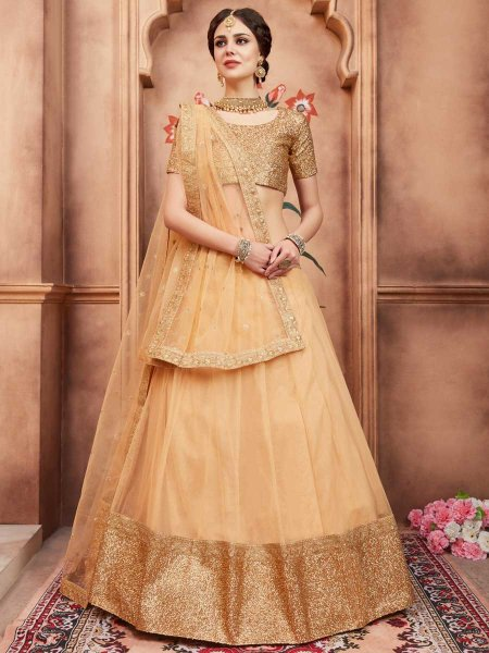 Peach Yellow Net Party Embroidered Lehenga Choli