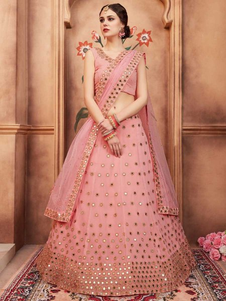 Salmon Pink Faux Georgette Party Embroidered Lehenga Choli
