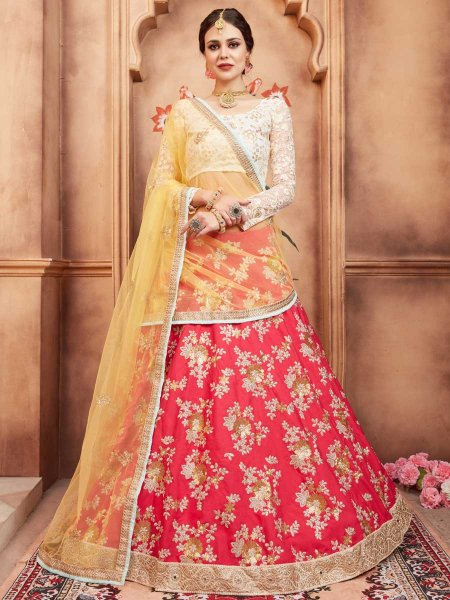 Amaranth Pink Taffeta Silk Party Embroidered Lehenga Choli