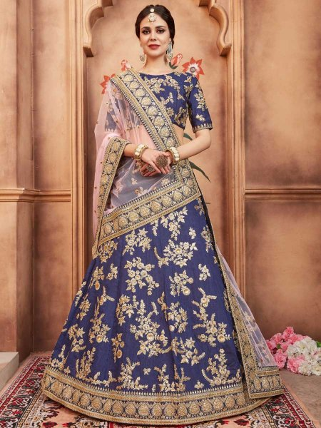 Navy Blue Art Silk Party Embroidered Lehenga Choli