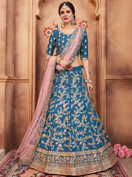 Cerulean Blue Art Silk Party Embroidered Lehenga Choli