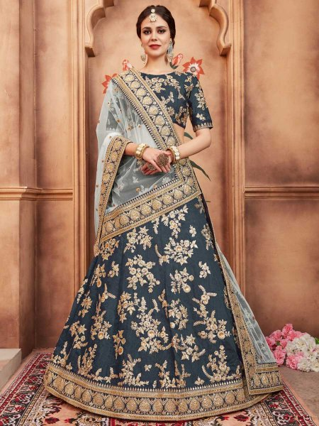 Camouflage Green Art Silk Party Embroidered Lehenga Choli