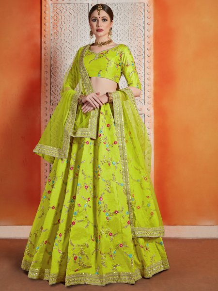 Yellow-Green Art Silk Embroidered Wedding Lehenga