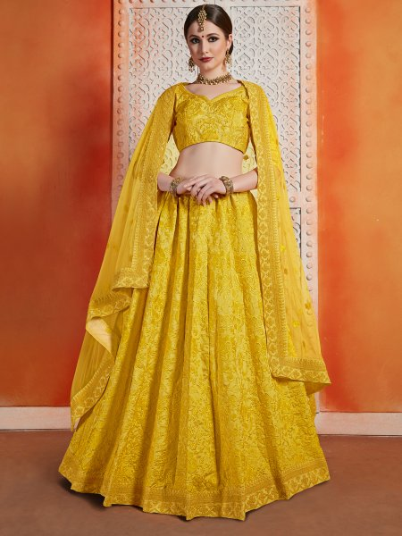 Saffron Yellow Art Silk Embroidered Wedding Lehenga