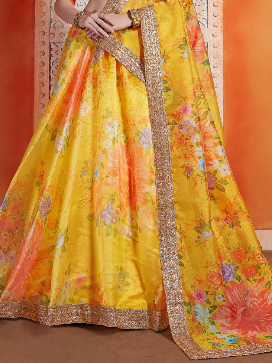 Saffron Yellow Organza Embroidered Wedding Lehenga