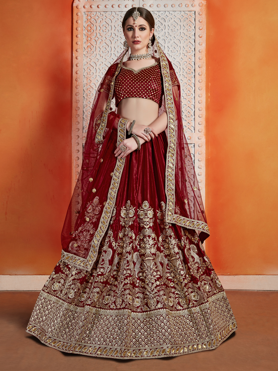 Maroon Velvet Embroidered Wedding Lehenga