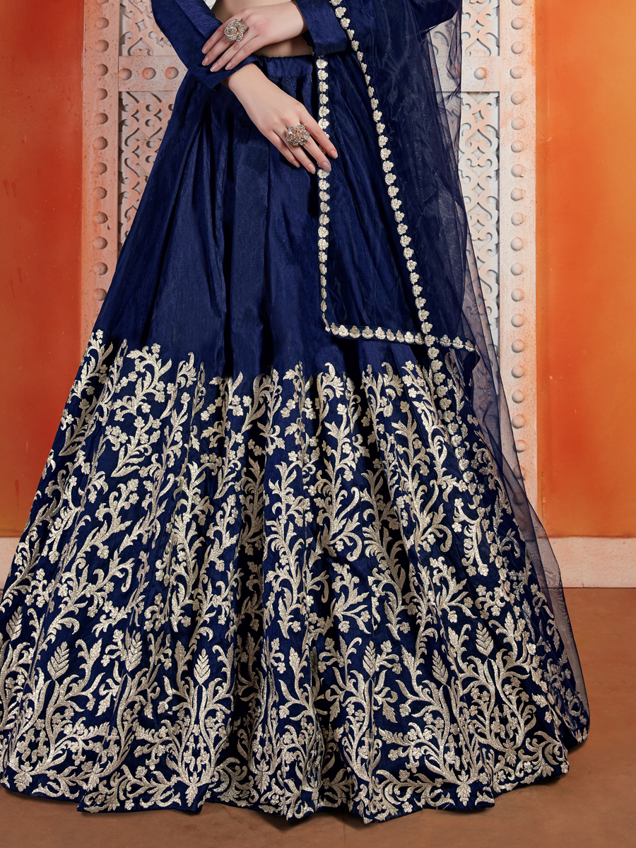 Sapphire Blue Art Silk Embroidered Wedding Lehenga