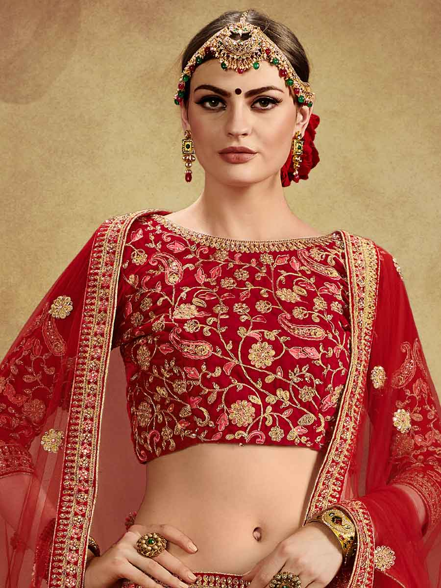 Venetian Red Velvet Embroidered Bridal Lehenga Choli