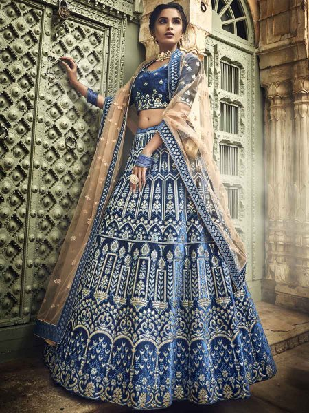 Yale Blue Velvet Embroidered Wedding Lehenga Choli