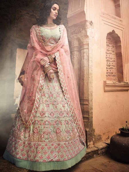 Moss Green Faux Georgette Embroidered Wedding Lehenga Choli
