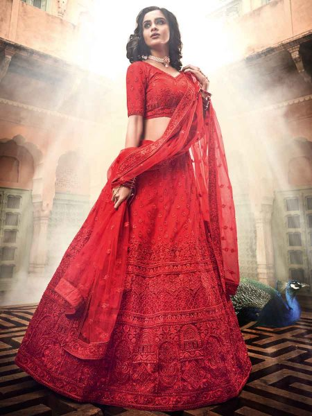Rose Madder Red Net Embroidered Wedding Lehenga Choli