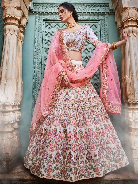 Off-White Faux Georgette Embroidered Wedding Lehenga Choli