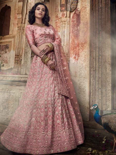 Salmon Pink Satin Embroidered Wedding Lehenga Choli