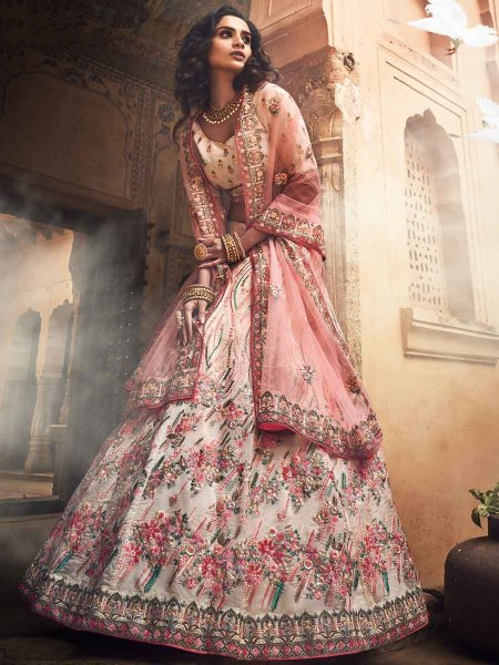 Off-White Organza Embroidered Wedding Lehenga Choli