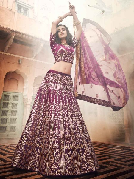 Wine Red Art Silk Embroidered Wedding Lehenga Choli