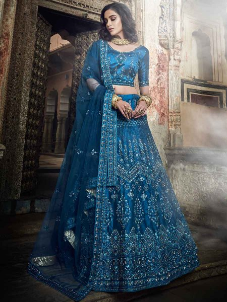 Yale Blue Art Silk Embroidered Wedding Lehenga Choli