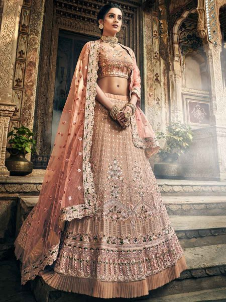 Tea Rose Pink Faux Georgette Embroidered Wedding Lehenga Choli