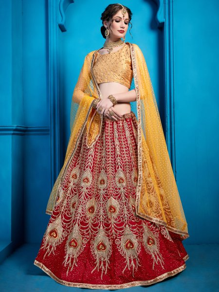 Maroon Art Silk Embroidered Party Lehenga Choli