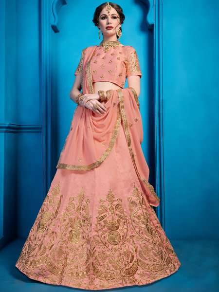Coral Pink Art Silk Embroidered Party Lehenga Choli