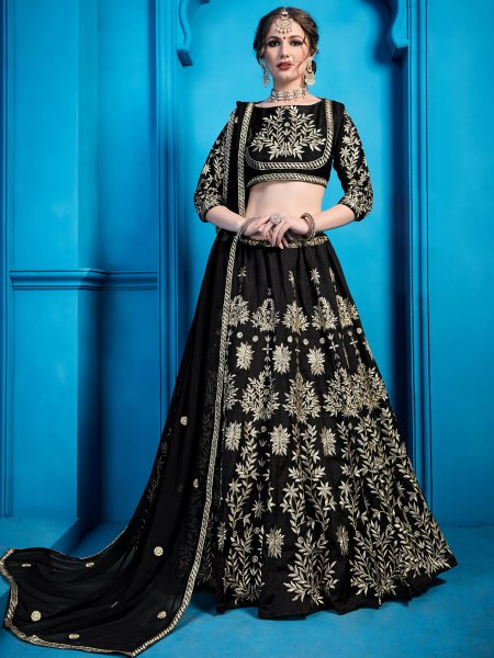 Black Art Silk Embroidered Party Lehenga Choli