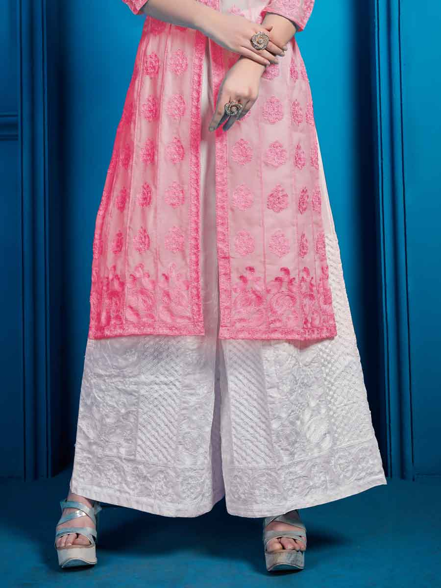 Brink Pink Faux Georgette Embroidered Party Palazzo Pant Kameez
