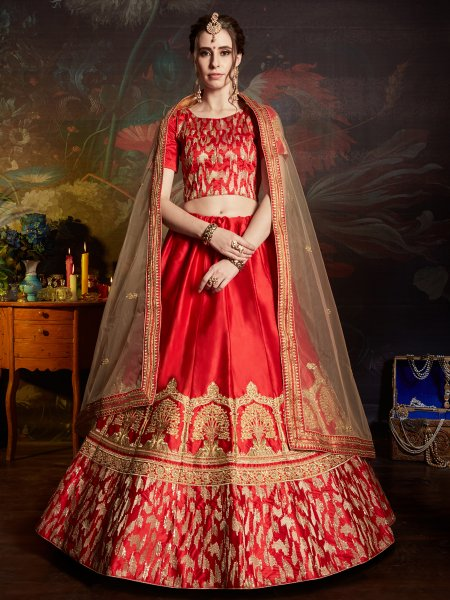 Crimson Red Satin Embroidered Party Lehenga Choli