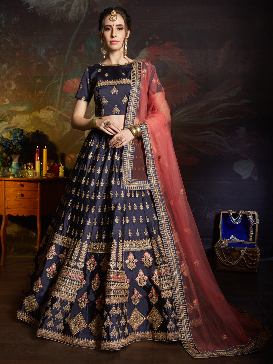 Prussian Blue Satin Embroidered Party Lehenga Choli