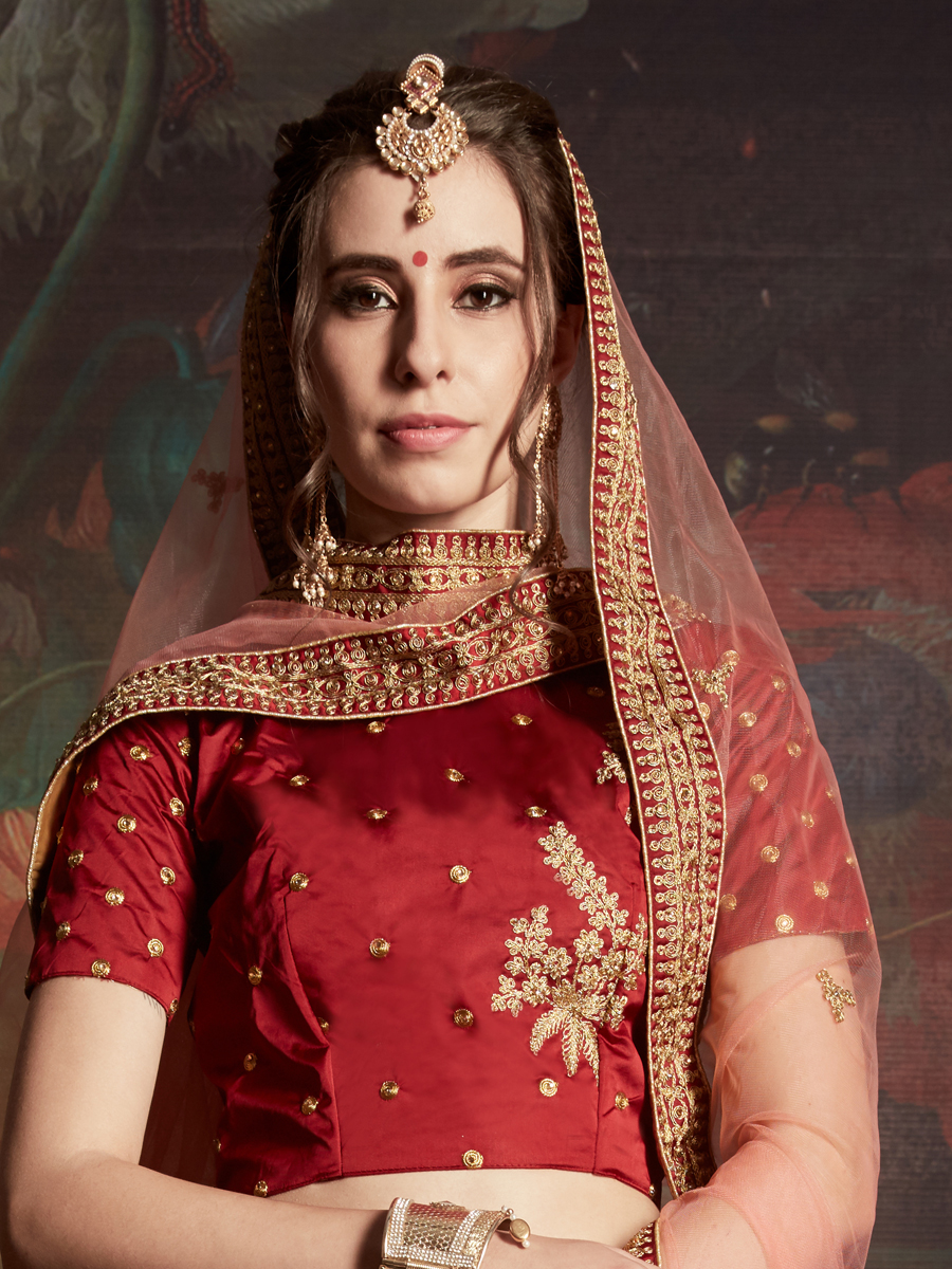 Rose Madder Red Satin Embroidered Party Lehenga Choli