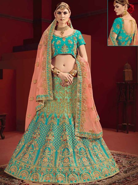 Deep Sky Blue Satin Embroidered Party Lehenga