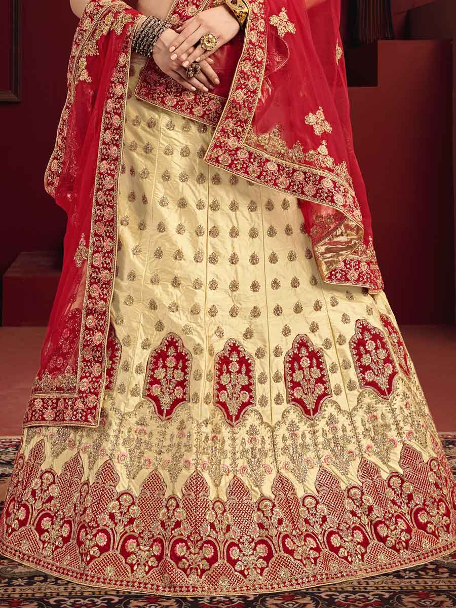 Cream Yellow Satin Embroidered Party Lehenga