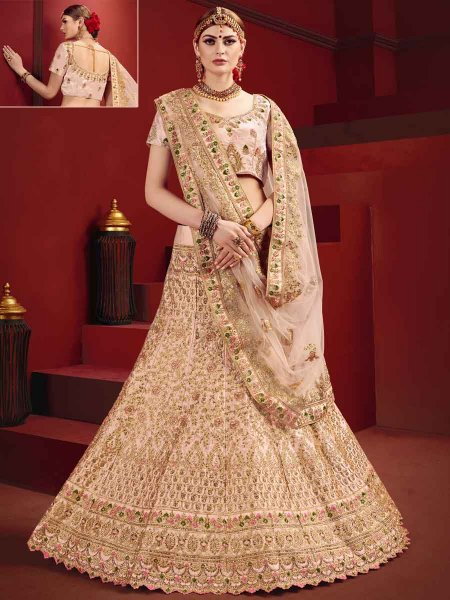 Tea Rose Pink Satin Embroidered Party Lehenga