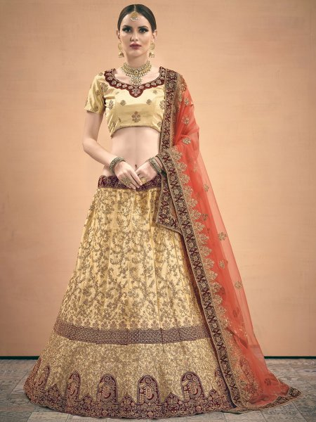 Beige Yellow Satin Embroidered Wedding Lehenga Choli