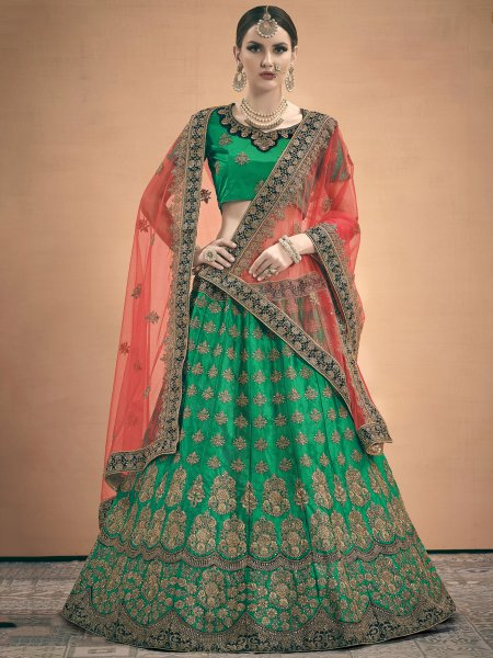 Dark Green Satin Embroidered Wedding Lehenga Chol