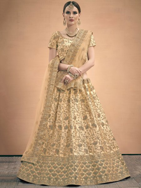 Cream Yellow Satin Embroidered Wedding Lehenga Choli