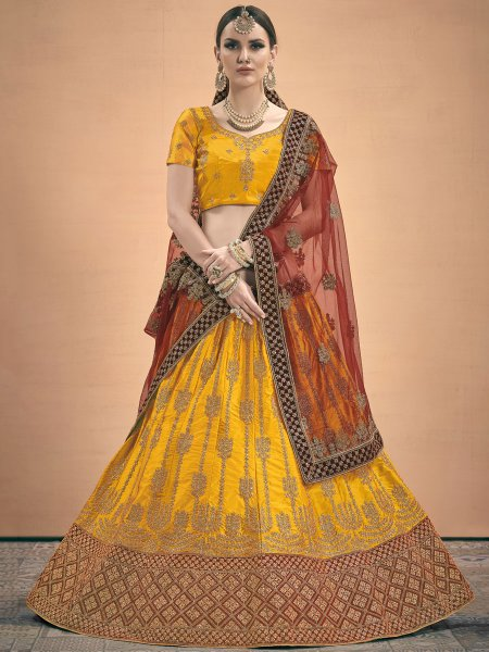 Amber Yellow Satin Embroidered Wedding Lehenga Choli