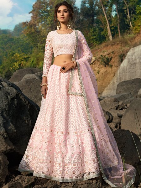 Tea Rose Pink Net Embroidered Festival Lehenga Choli