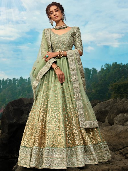 Moss Green Net Embroidered Festival Lehenga Choli