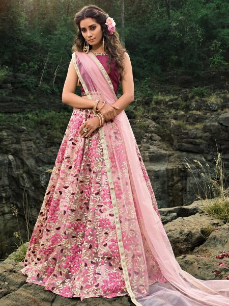 Light Pink Net Embroidered Festival Lehenga Choli