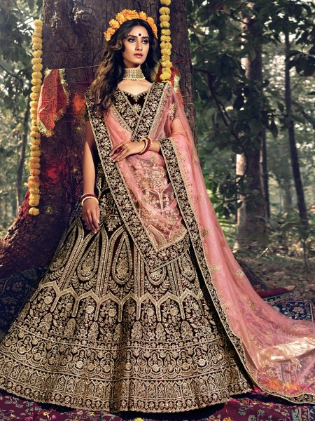 Maroon Velvet Embroidered Wedding Lehenga Choli
