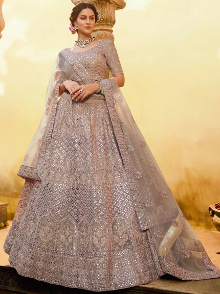 Puce Pink Crepe Embroidered Bridal Lehenga Choli