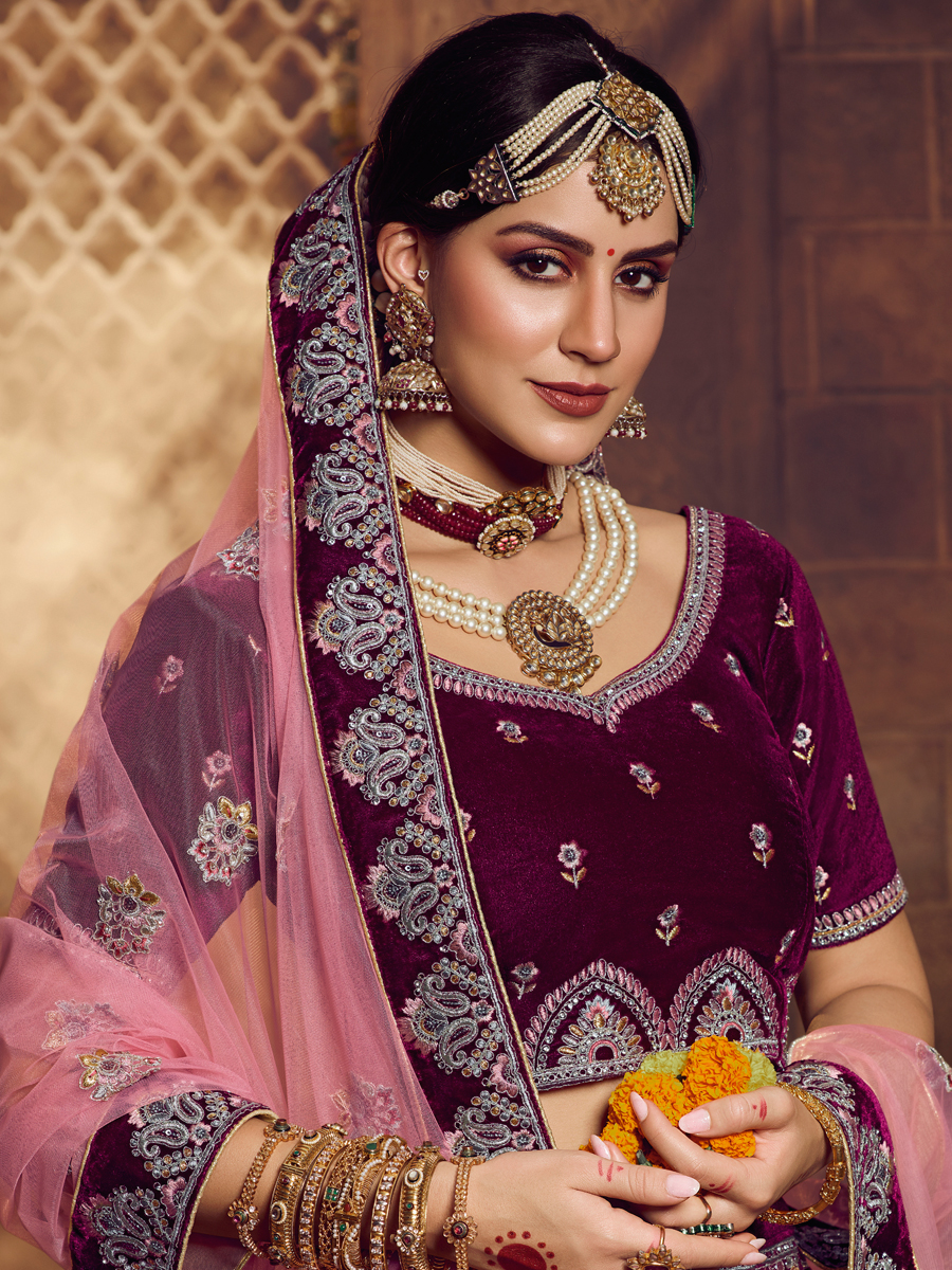 Wine Red Velvet Embroidered Bridal Lehenga Choli