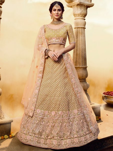 Golden Yellow Gota Silk Embroidered Bridal Lehenga Choli