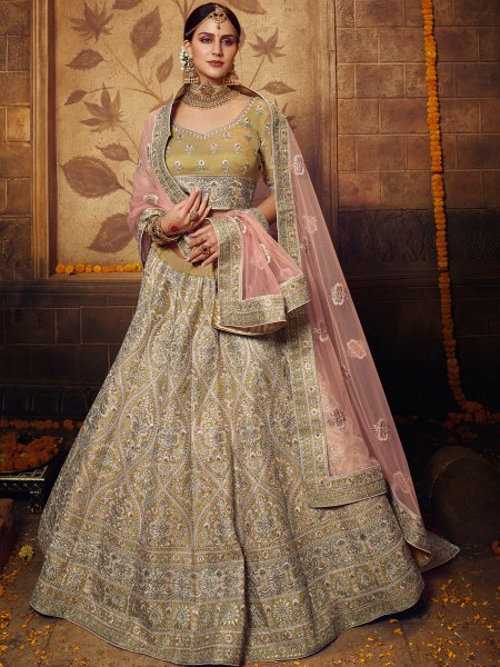 Metallic Gold Yellow Gota Silk Embroidered Bridal Lehenga Choli