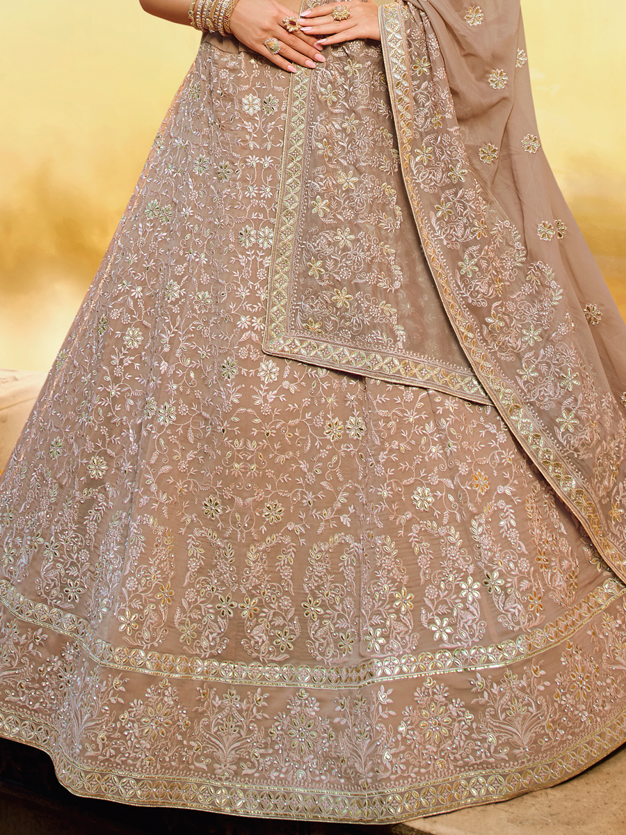Light Brown Faux Georgette Embroidered Bridal Lehenga Choli
