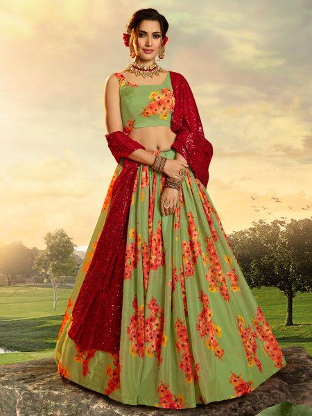 Light Green Organza Printed Festival Lehenga Choli