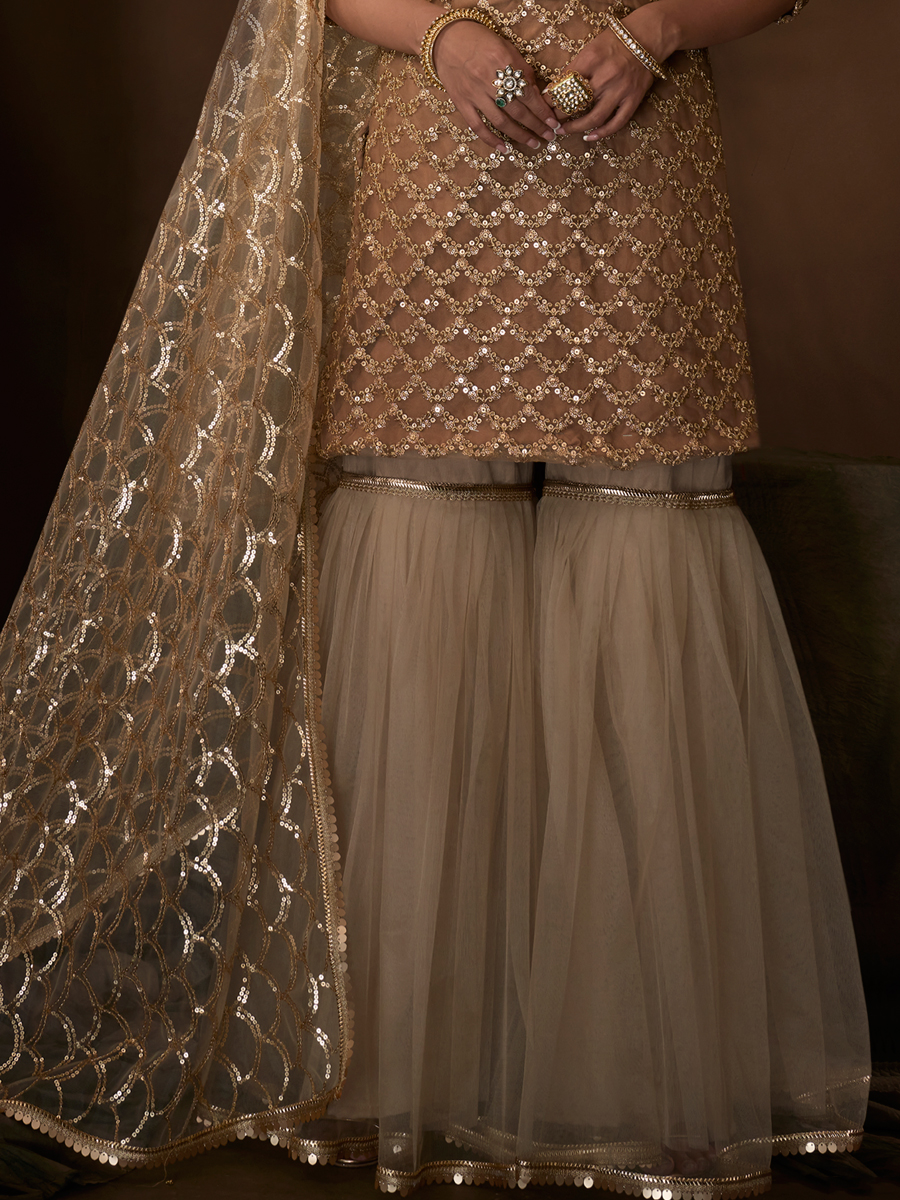 Beige Yellow Net Embroidered Party Sharara Pant Kameez