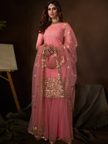 French-Rose Pink Net Embroidered Party Sharara Pant Kameez