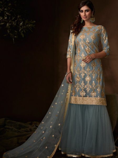 Gray Net Embroidered Party Sharara Pant Kameez